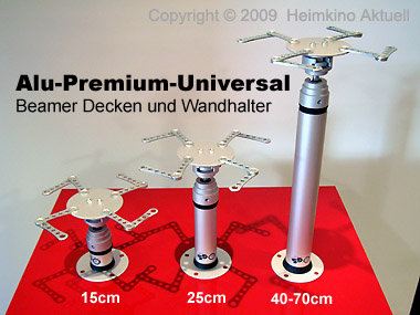 Deckenhalter Beamer ALU-Premium-Universal-Vario 45cm - 70cm Länge