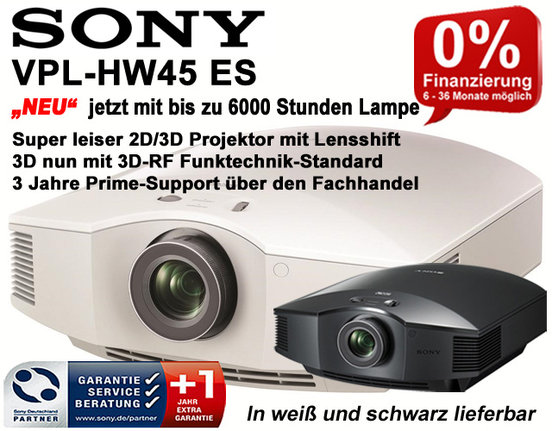 Sony VPL-HW45ES - FullHD 3D Beamer - HEIMKINO-Aktuell Edition - Schwarz
